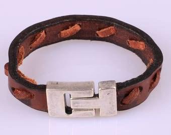 Mens leather bracelet.Brown leather bracelet.Mens Bracelet.Gift for him.Gift for dad.Leather bracelet.Genunie leather bracelet