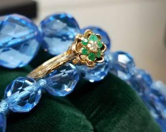 1960s Era 14K Yellow Gold Emerald Diamond Ring