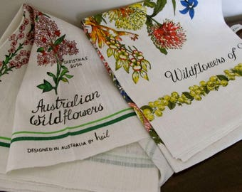 PAIR of Vintage Tea Towels Wildflowers of Western Australia signed Heil