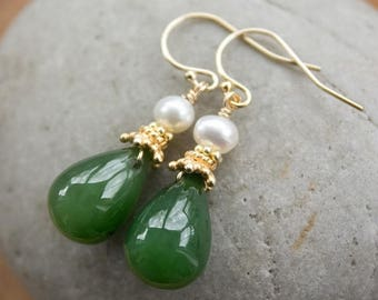 FLASH SALE Green Nephrite Jade and White Pearl 14kt gold fill Earrings