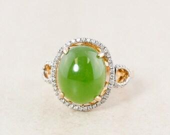 FLASH SALE Halo Siberian Jade Ring – White Diamond Setting – 18kt Rose Gold