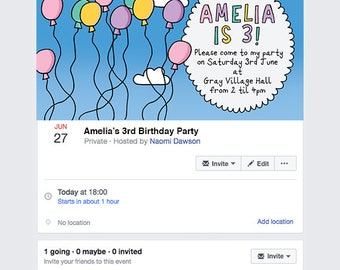 Children's Balloon Birthday Party Facebook Cover, Facebook Event Invitation, Social media Birthday, Quick and Easy online Party Invitations