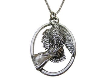 Hawk Bird and Glove Large Oval Pendant Necklace