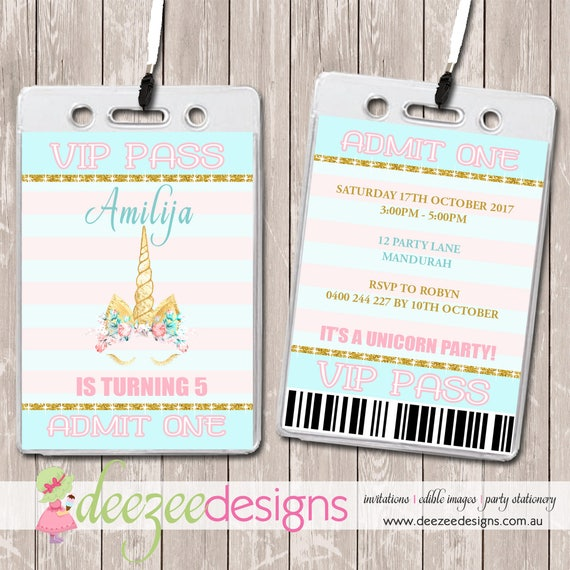 Unicorn Face VIP Lanyard Birthday Invitations x 10 BD235G by