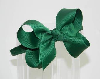 Forest Green Bow Headband- School Uniform Headband, Uniform Hair Bows, Hunter Green Hair Bow, Forest Green Headband, Forest Hair Bow