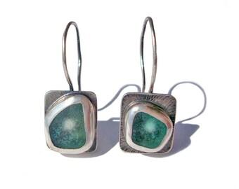 Silver Sea Glass Earrings.