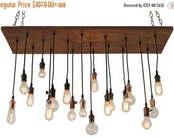Summer Promo Nostalgic Reclaimed Wood Chandelier With Varying Edison Bulbs