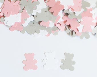 Teddy Bear Confetti,  Teddy Bear Baby Shower Decor, Baby Shower Confetti, Pink and Gray