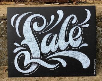 "Sale Sign - 8""x10"" hand lettered shop sign - smudge resistant medium on heavy illustration board - custom options - retail sign"
