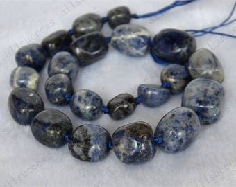 Knotted blue gemstone nugget stone beads loose strands,  Blue Sodalite Gemstone Beads,stone beads loose strands