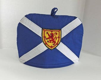 Flag of Scotland with Lion Rampant Shield - Small Dome Tea Cozy with Trivet - St Andrew's Cross