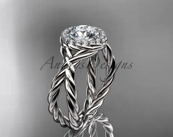 """14kt white gold diamond rope engagement ring with a """"Forever One"""" Moissanite center stone RP889"""