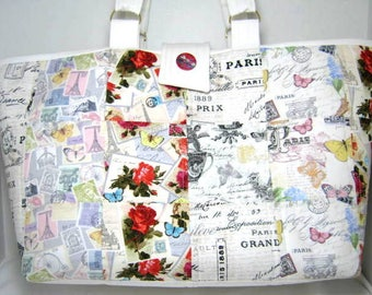 Paris Quilted Knitting Crochet Project Craft Tote with Pockets, JDCreativeHands