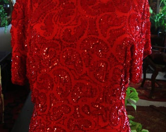 Vintage Red Sequin 1990's Boho Gypsy Chic Blouse Shirt Top