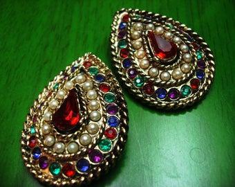 Vintage 1970s Boho Embellished Large Clip Drop Shaped Earrings