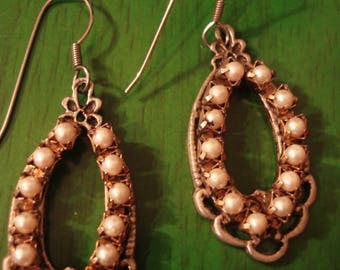 Handcrafted Vintage Inspired Boho Pearl Drop Earrings