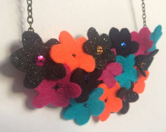 Daisy Patch Statement Necklace - Brights Flower Necklace