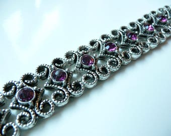 Swarovski Crystal  Antique Silver Plated 2 Hole Slider Bead - 16x11mm - Amethyst - 5 pieces - Purple
