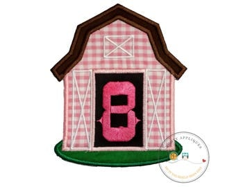 Pink barn birthday number eight iron on applique, Farm yard birthday number 8 embroidered patch, country 7th birthday iron on, ready to ship