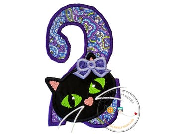 Jade kitty face with purple oil spill pattern birthday number 2 - iron embroidered fabric applique patch embellishment- ready to ship