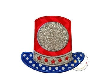 ON SALE NOW Glitter Uncle Sams top hat iron on applique, July 4th embroidered fabric applique, monogram red, white and blue top hat