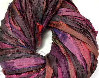 Recycled Sari Silk Ribbon 320 Rustic Burgundy Purples Browns Tassel Ribbon Jewelry Fair Trade Silk Fiber Art Felt Knit Crochet Supply