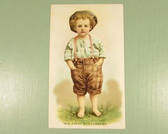 Boy First Suspenders Hires Root Beer - Victorian Advertising Lithograph Trade Card