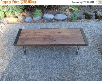 Limited Time Sale 10% OFF 3 ft Industrial Bench from salvaged barnwood with hairpin legs