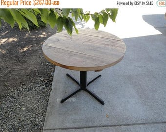 Limited Time Sale 10% OFF Round Old Reclaimed Barnwood Restaurant Pedestal Dining Table, 24 inch 1-4 person