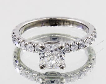 2.00 Ct. Natural Cushion Cut Pave Diamond Engagement Ring - GIA Certified