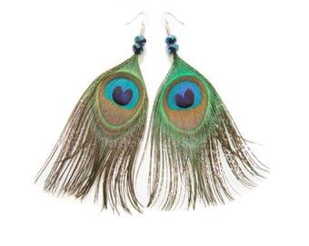 Peacock Feather Earrings Jewelry, Peacock Earrings