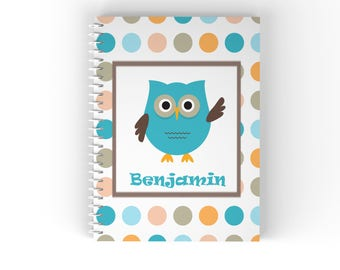 Owl Personalized Notebook - Owl Blue Green Coral Dots with Name, Customized Spiral Notebook Back to School