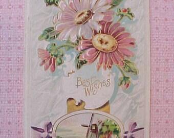 Beautiful Edwardian Era Postcard with Pink Gerbera Type Daisies