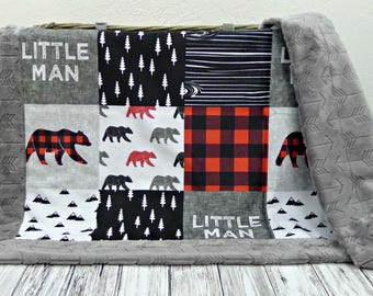 Buffalo Plaid Minky Baby Blanket - Buffalo Plaid Blanket Faux Quilt - Little Man Blanket - Lumberjack - Buffalo Check Baby Blanket Bear