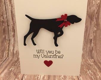 german shorthaired pointer valentine's day card,pointer card,dog valentine's day card,german shorthair card,will you be my valentine