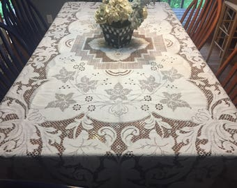 Vintage Ivory and Brown Lace Dining Luncheon Tablecloth by MarlenesAttic