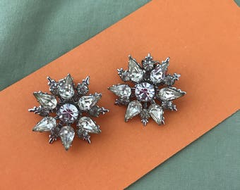 Beautiful Clear Rhinestone Clipon Clip On Earrings