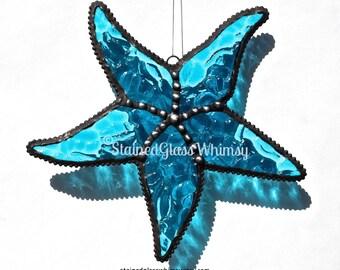 Stained Glass STARFISH Suncatcher, Turquoise, Textured Transparent, Decorative Soldering, USA Handmade Original Design, Beach Decor, SeaStar