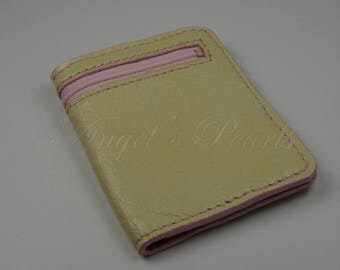 Women's Leather Wallet - Men's Leather Wallet - Lysandre - Sand/Pink - Hand Sewn