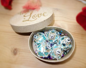 5 x Ice blue and Petrol Christmas  Crystal Tree Ornaments Victoriana Boxed