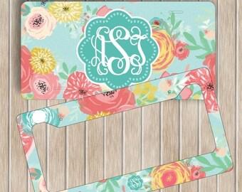 SALE Floral Monogram License Plate Frame Set ~ Personalised Flowers License Plate Frame ~ Custom Car Tag ~ Custom Plate Frame ~ New Driver G