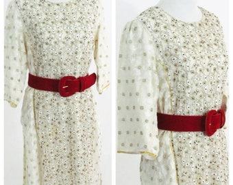 SUMMER SALE Vintage 1980's White Tunic Kurta Dress - Beaded 3/4 Sleeve Traditional Indian Kurti Cotton Dress - Boho festival dress - Size me