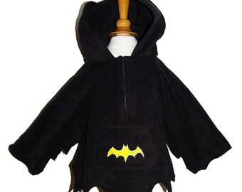 Bat Sweatshirt Black Fleece with hood has ears