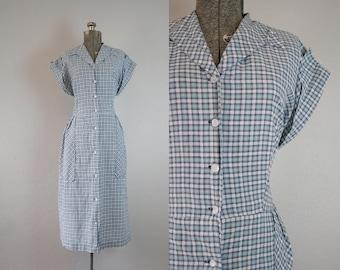 1950's Blue Plaid Cotton Day Dress / Volup / Size XLarge