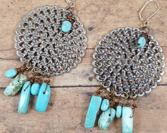 I'm a cowgirl Southwestern style shoulder duster earrings