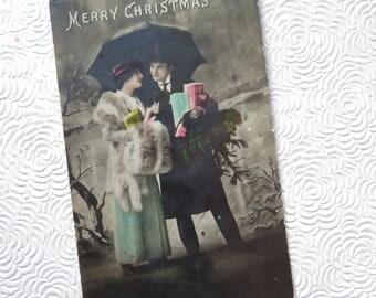 Edwardian Christmas Card 1919 Photo Romantic Couple Merry Christmas Colorized Black White Christmas Photograph Card Victorian Lady Framing