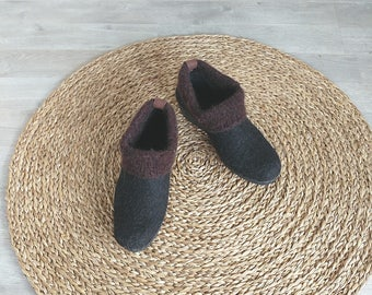 READY to SHIP Felted brown ankle booties - wool minimalist shoes size EU 39 / us women 8.5
