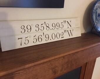 Latitude and Longitude Wood Sign - Perfect Housewarming Gift, Wedding Gift, or Anniversary Gift
