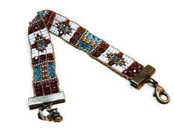Loom Woven Bracelet with  Miyuki Seed Beads 14k gold overlay beads Swarosvski Austrian  Crystal Czech Beads