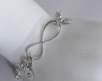 Mother's Bracelet, Couple's Bracelet; Sterling Silver, Infinity, Personalized, 1 to 10 Petite Initial Discs, 7-Inches - MTB2